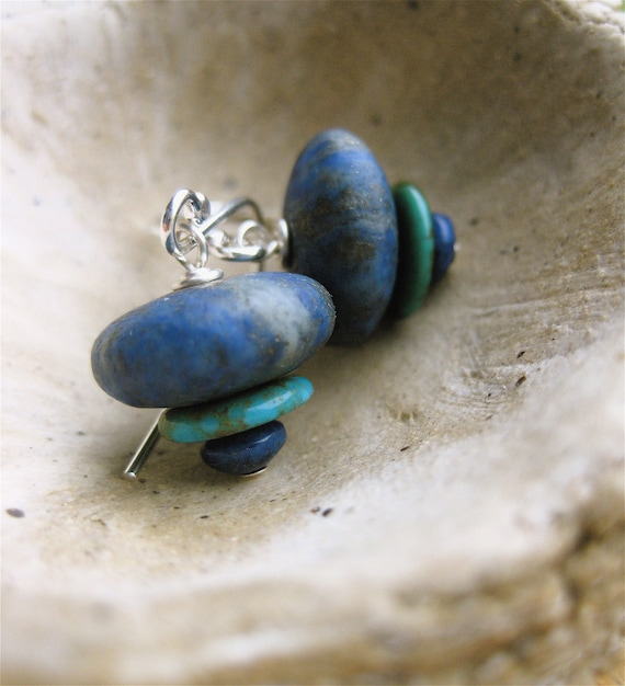 Lapis Lazuli and Turquoise Cairn Earrings Descending