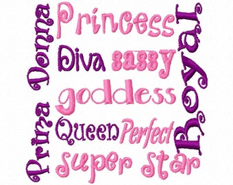 Princess Diva Block Embroidery Machine Design Patterns 2 Sizes Digital Download