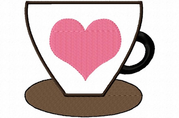 Coffee Lovers Applique Embroidery Machine Design Patterns Digital Download