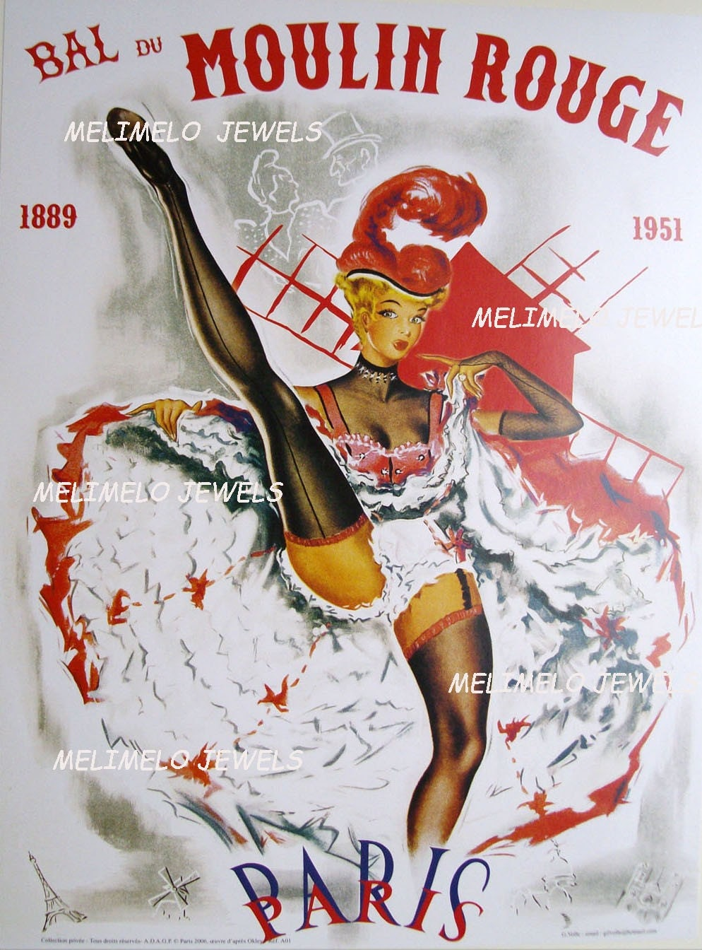Paris Moulin Rouge Vintage Poster Reproduction FREE