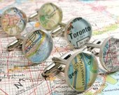 Vintage Map Sterling Silver Round Cufflinks. You Select the Journey.