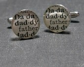 Fathers Day Daddy Dictionary Sterling Silver Round Cufflinks.