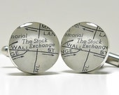 The NYSE Wall Street Vintage Street Map Sterling Silver Round Cufflinks.