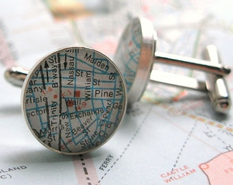 NYSE Wall Street Vintage Street Map Sterling Silver Round Cufflinks.