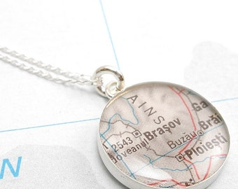 Grand Journey Vintage Map Sterling Silver 16 inch Necklace.  You Select Journey.