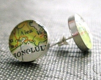 CUSTOM Simple Round Vintage Map Sterling Silver Stud Earrings.  You Select the Journey.