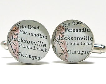 Jacksonville Florida 1899 Antique Map Cufflinks