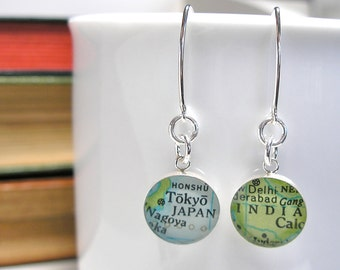 CUSTOM Solid Sterling Silver. Modern Vintage Map Dangle Earrings.  Made to Order.