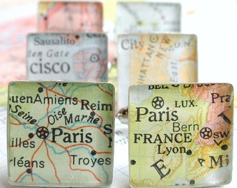 Vintage Map Sterling Silver Square Cufflinks. You Select the Journey.  Christmas Gift