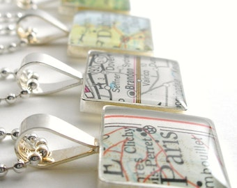 CUSTOM Vintage Map Sterling Silver Square Necklace.  You Select the Journey.