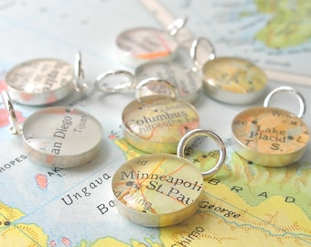 Bridesmaid Gift, Missionary, Will You Be My Bridesmaid, Sterling Silver Charms, Wine Charms, Map Charm