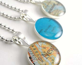 Vintage Map Sterling Silver Round Necklace.  You Select the Journey.  mom from daughter, mother in law gift