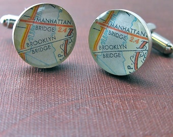 Brooklyn Bridge and Manhattan Bridge over east river Map Sterling Silver Round Cufflinks.