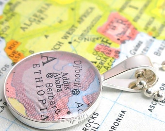 Vintage Map Sterling Silver Round Necklace.  Addis Ababa Ethiopia Africa.