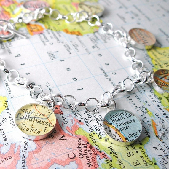 Charming Vintage Map Toggle Sterling Silver Charm Bracelet.  You Select the Journey.