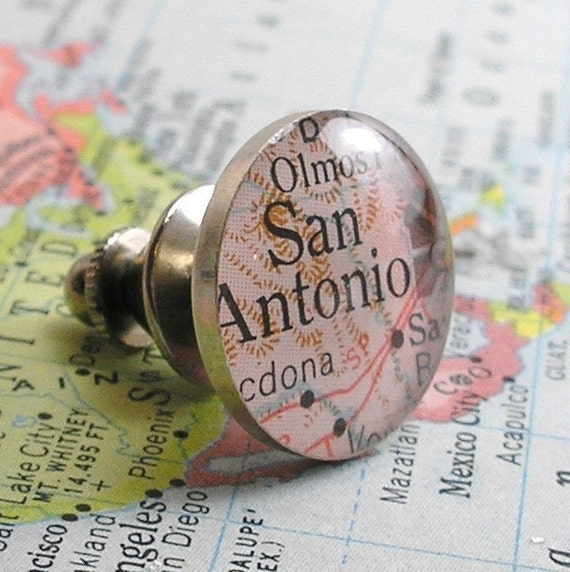 Sterling Silver and Resin Map or Dictionary Round Tie Tack. Vintage. You Select the Image.