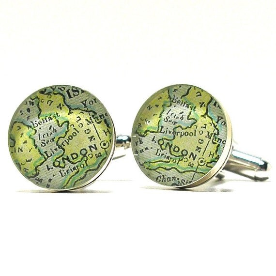 London 1899 Antique Map Cufflinks with Handcrafted Pine Gift Box, Christmas Gift, Brother Gift