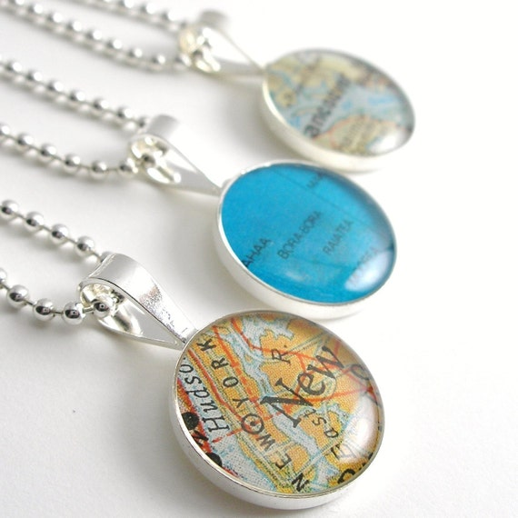 Vintage Map Sterling Silver Round Necklace.  You Select the Journey.