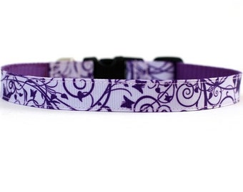5/8 or 3/4 Inch Wide Dog Collar with Adjustable Buckle or Martingale in Grape Crush