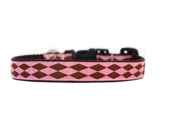 5/8 or 3/4 Inch Wide Dog Collar with Adjustable Buckle or Martingale in Harlequin Pink