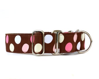 Wide 1 1/2 inch Adjustable Buckle or Martingale Dog Collar in Candy Dot
