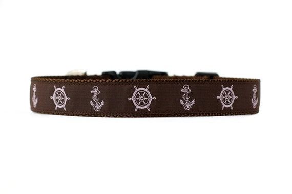 1 Inch Wide Dog Collar with Adjustable Buckle or Martingale in Anchors Away