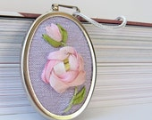 Pink Rose Necklace silk ribbon embroidery by bstudio on Etsy