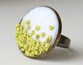 Chartreuse ring embroidered silk adjustable ring