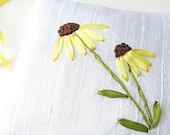 Black-eyed susans lavender sachet in silk ribbon embroidery