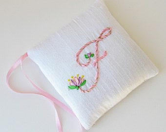 Letter F lavender sachet, Personalized sachet, silk ribbon embroidery initial, closet freshener, scented hanging sachet