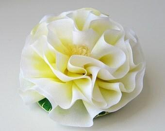 Yellow silk flower hair clip, ruffled silk French barrette, bridal hair accessory, wedding accessory for bride, bridesmaid or flower girl