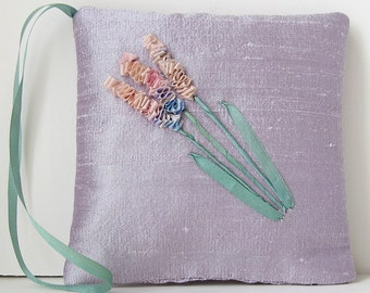 Lavender sachet, silk ribbon embroidery, silk sachet, floral sachet, aromatherapy pillow, closet freshener, embroidered sachet