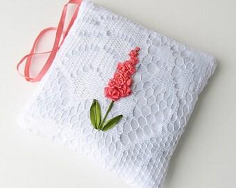 Orange floral sachet, lace lavender sachet, scented sachet, drawer freshener, lavender and lace, door hanger sachet, silk ribbon embroidery