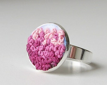 Pink ombre ring, embroidered jewelry, silk ribbon embroidery, pink adjustable ring
