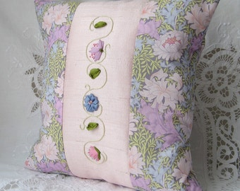 Embroidered pillow, silk ribbon embroidery, silk and cotton cushion, pink floral pillow, 12 inch square pillow, bedroom decor