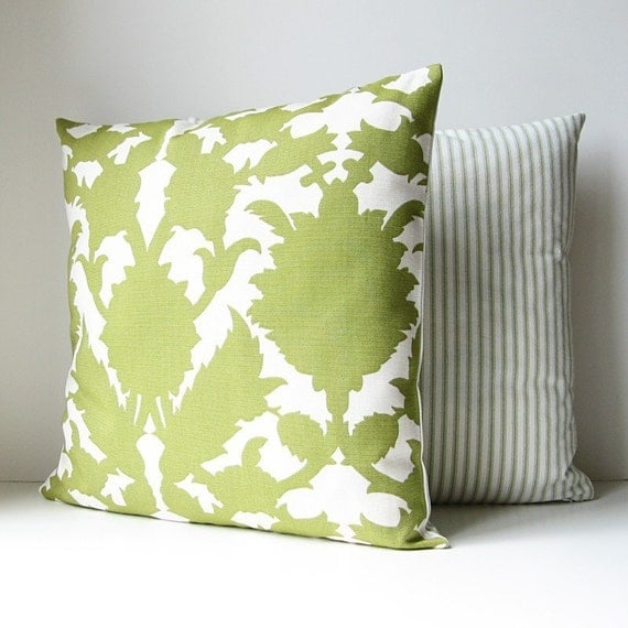 Green and White Pillow Cover 16 x 16 Damask Print Last One
