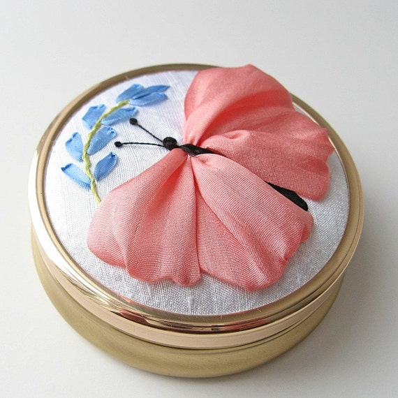 Butterfly jewelry box silk ribbon embroidery Mother's Day gift