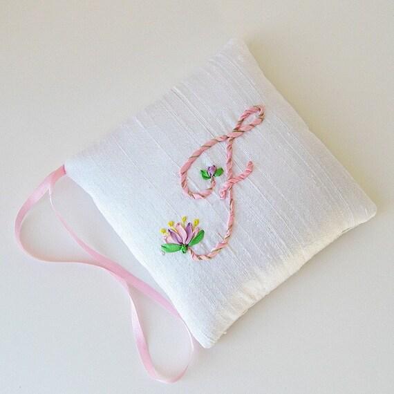 Letter F lavender sachet, Personalized sachet, silk ribbon embroidery initial, closet freshener, scented hanging sachet