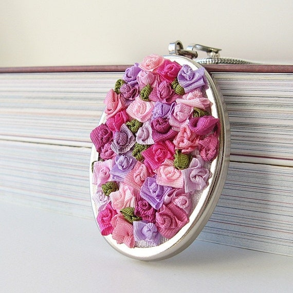 Pink Floral Necklace silk ribbon embroidery