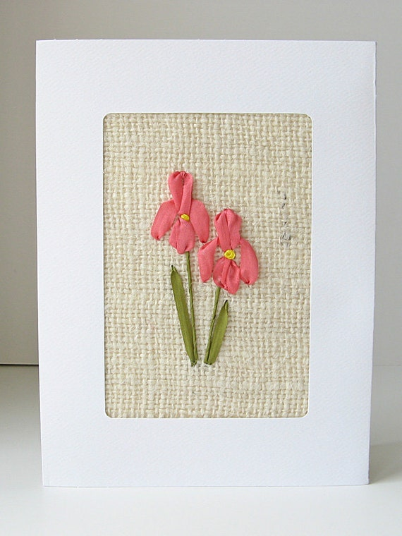 Iris Card silk ribbon embroidery wedding card birthday card blank card