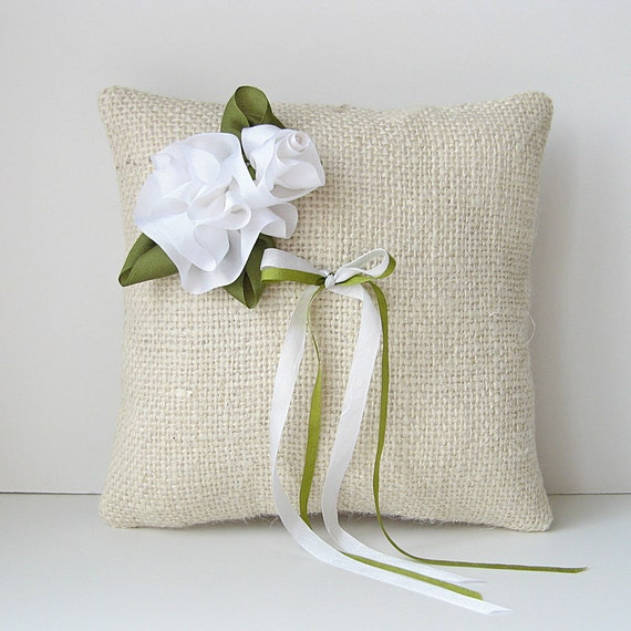 White roses ring pillow, rustic country wedding ring holder, green and white ring pillow, burlap ring bearer pillow