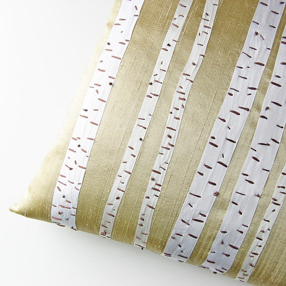 Birch Trees Pillow Cover 16 x 16 silk ribbon embroidery