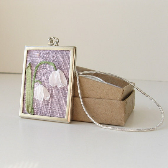 Lily of the Valley Necklace embroidered necklace