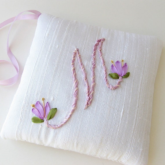 Letter M lavender sachet personalized monogram silk ribbon embroidery