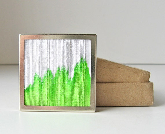 Bright green brooch, neon color jewelry, dyed silk pin, green and white pin, square brooch, modern square jewelry