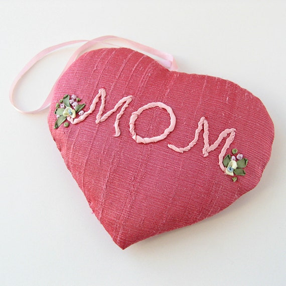 MOM Lavender Sachet. heart shape. silk ribbon embroidery Mother's Day