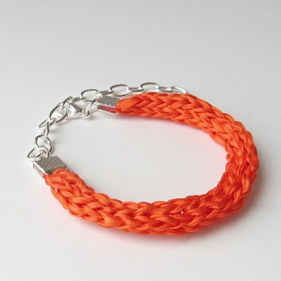 Neon Orange Silk Bracelet