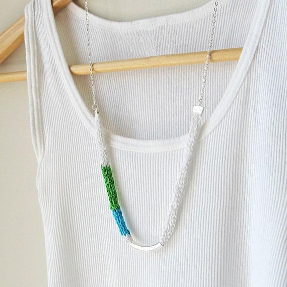Tri-color necklace white green aqua silk