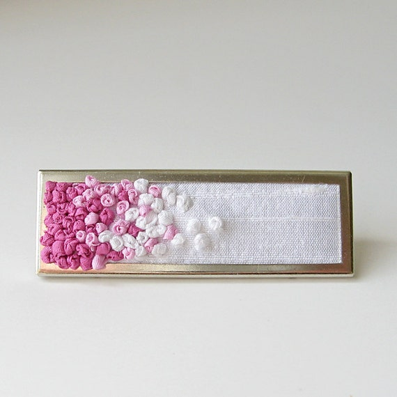 Pink Ombre Brooch embroidered silk ribbon
