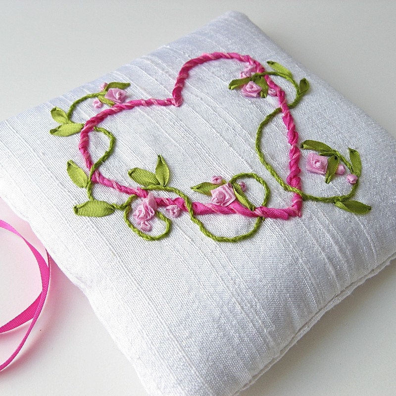 Entwined heart lavender sachet silk ribbon embroidery